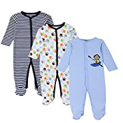 Mothernest Baby Boys' Footed Pajamas Sleeper 3 Pack Long Sleeve for Snap Sleep Play (Paws Monkey Stripe 0-3M)