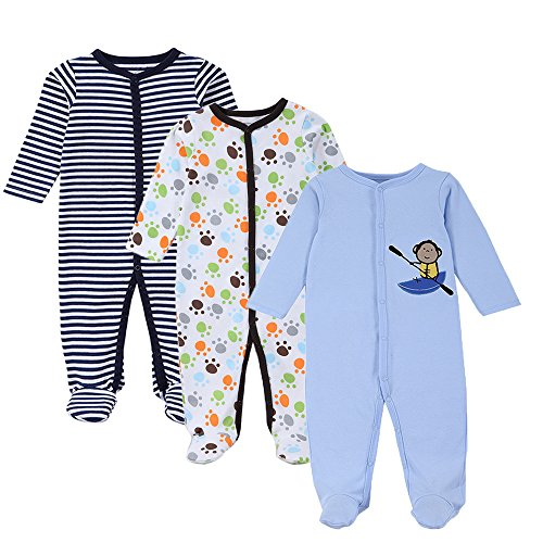Footed Pajamas Monkey (Mothernest Baby Boys' Footed Pajamas Sleeper 3 Pack Long Sleeve For Snap Sleep Play (Paws Monkey Stripe 9-12M))