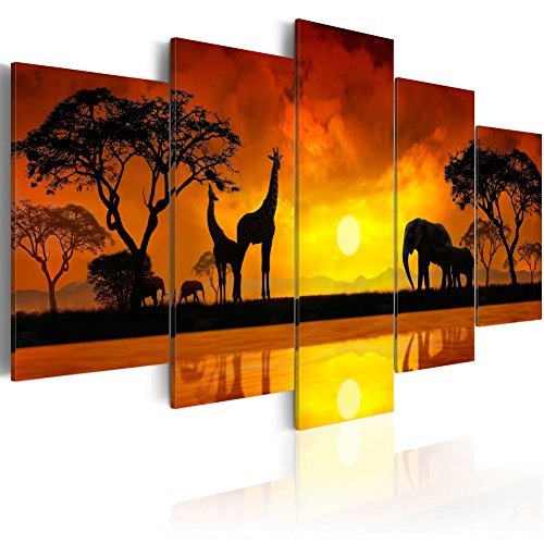 Konda Art 5 Piece Giraffe Canvas Wall Art African Landscape Sunset Tree Print Painting Home Decor Modern Animal Elephant Artwork for Living Room Framed and Ready to Hang (Savanna - Sunset, 40