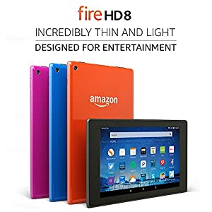 "Fire HD 8 Tablet, 8"" HD Display, Wi-Fi, 16 GB - Includes Special Offers, Tangerine (Previous Generation - 5th)"