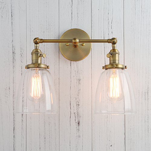 Permo Double Sconce Vintage Industrial Antique 2-lights Wall Sconces with Oval Cone Clear Glass Shade (Antique)