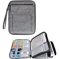 Damero Double Layer Electronics Organizer, Travel Accessories Carry Bag with 9.7iPad Sleeve for Passport, Business Cards, Document, Pens, Smart Design and Premium Quality, Dark Gray