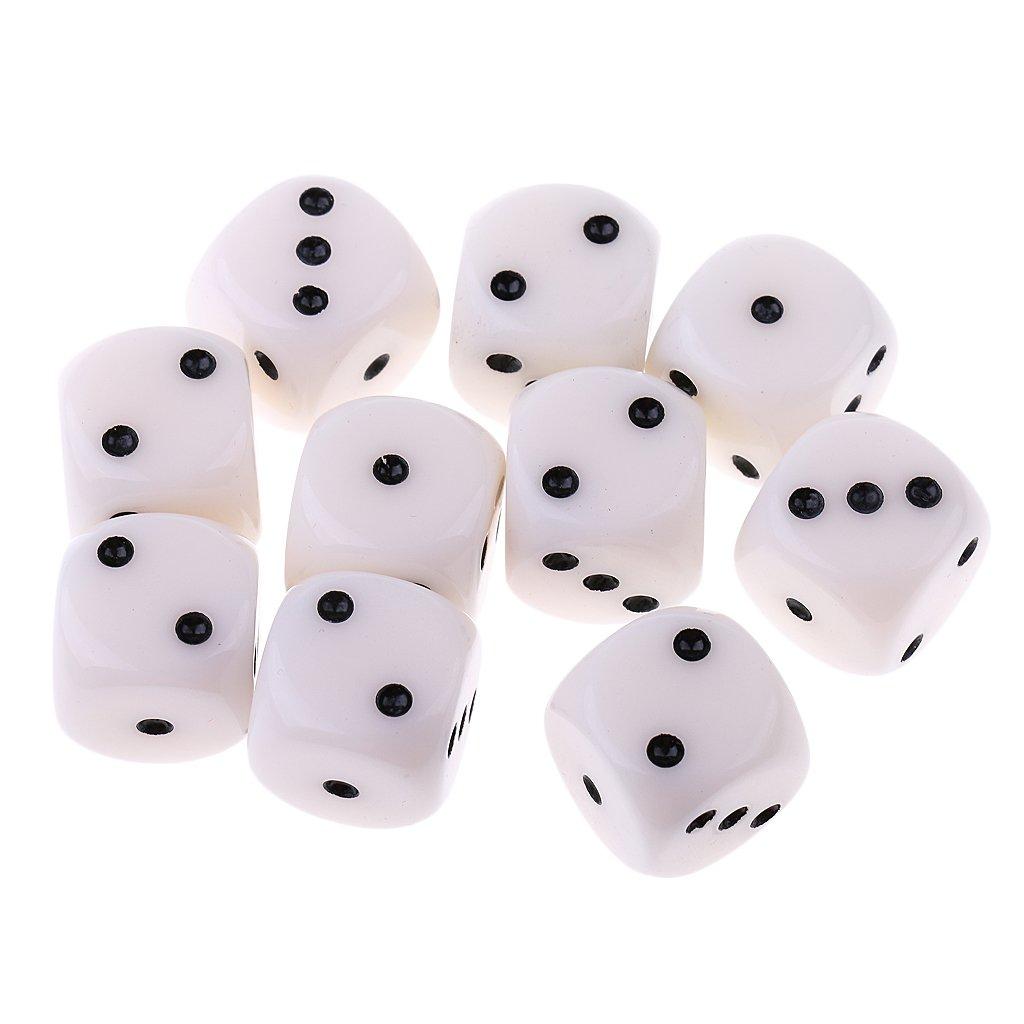 Sharplace 10pcs Dés Jeux de Rôle Polyédriques D6 en Acrylique Blanc 15mm pour Jeu de Société Jeux de Table Donjons Dragons