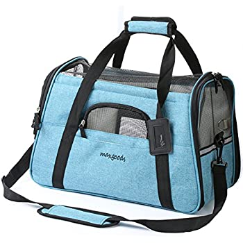 Pet Travel Carrier, Airline Approved Soft Sided Pet Portable Bag with Fleece Pet Mat for Dogs Cats Puppies (Blue)