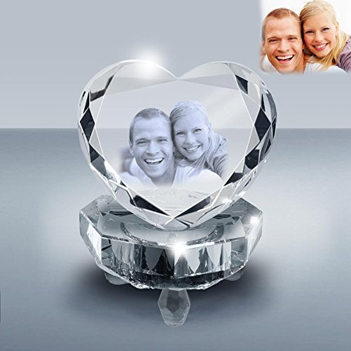 Goodcount.com 3D Crystal Etching - Custom Laser Engraving Crystal, Picture in Glass Gift, Etched Photo Crystal Heart A039 Gift Set with Crystal Light Base