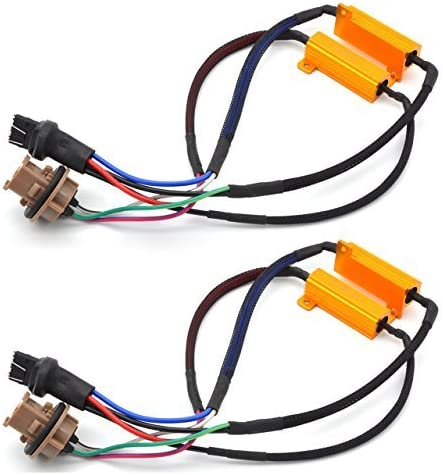 TUINCYN 2pcs 50W 8 ohm H13 Led Load Resistors Connector Fix Headlight Turn Signal Bulb Daytime Running Lights Fog Lamp Car Lighting Error Free Canceller Capacitor Decoder Wire
