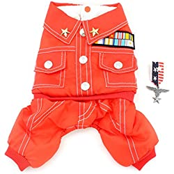 SMALLLEE_LUCKY_STORE Small Dog Coat Military Fleece Lined Jacket Four Legged Jumpsuits Winter Snowsuit Pet Clothes, Large, Red