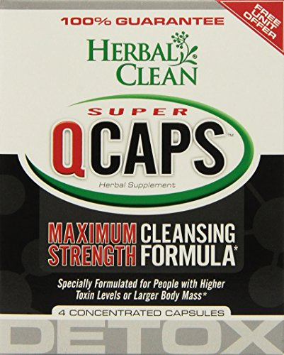 Herbal Clean Super QCaps Maximum Strength Cleansing Formula Supplement -  Advanced Super Detoxifying Solution (4 Capsules)