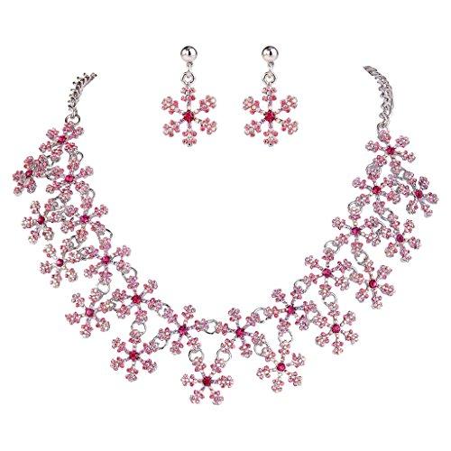 EVER FAITH Lots Snowflake Austrian Crystal Necklace Earri...