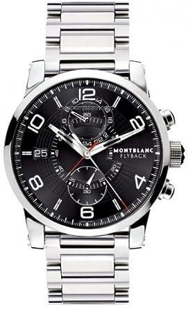 Montblanc TimeWalker montre Cadran noir Bracelet en acier inoxydable pour homme – 104286