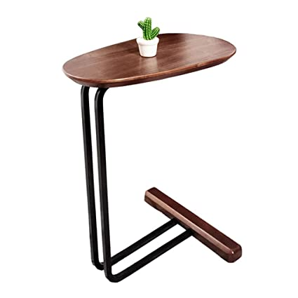 Amazoncom C Shaped Solid Wood Side Table Wrought Iron Table Body
