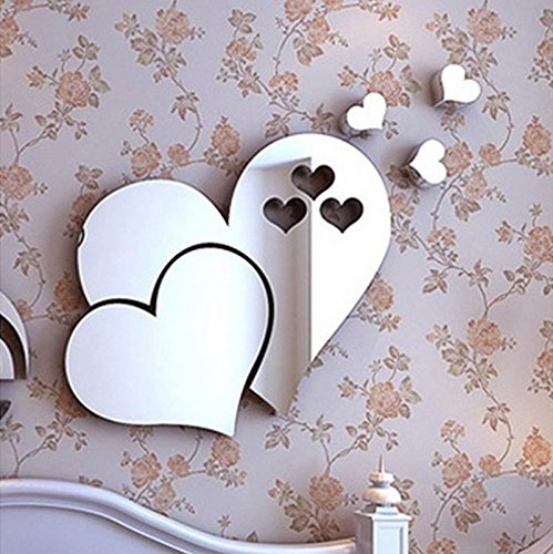 3D Mirror Love Hearts Self Adhesive Wall Stickers,Elevin(TM) Elevin(TM) Wall Decals Stickers Removable Waterproof Paper Mural Wall Art Wallpaper Home Decor -
