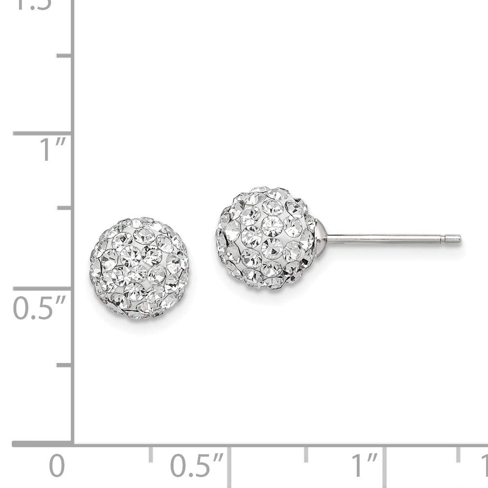 925 Sterling Silver 8mm White Czech Crystal Post Stud Earrings Ball Button Fine Jewelry Gifts For Women For Her