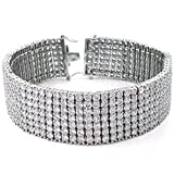 Mens Seven Row Tennis Bracelet White Clear Round Cut Cz Sterling Silver (8)