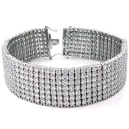 Mens Seven Row Tennis Bracelet White Clear Round Cut Cz Sterling Silver (8) by The Ice Empire Jewelry