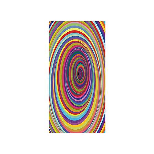 3D Decorative Film Privacy Window Film No Glue,Rainbow,Hypnotic Rainbow Colored Vortex Hypnotic Effect Optical Illusion Psychedelic Print Decorative,Multicolor,for Home&Office