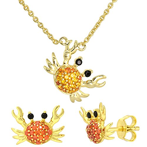 Dainty Sterling Silver Cancer Crab Earrings Necklace Set Orange CZ Micropave Gold Plated 5/8 inch (17mm) tall