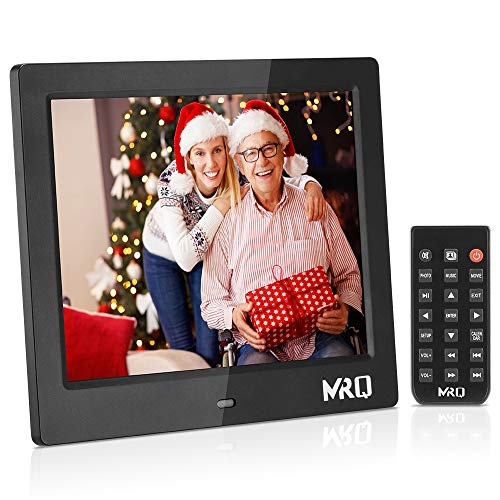 MRQ 8 Inch Digital Photo Frame, Upgraded 1024×768 HD IPS 180 Degree Wide Viewing Angle 4:3 Electronic Picture Video (1080P) Frame with MP3, E-Book, Calendar, Remote Control, USB and SD Card Slot