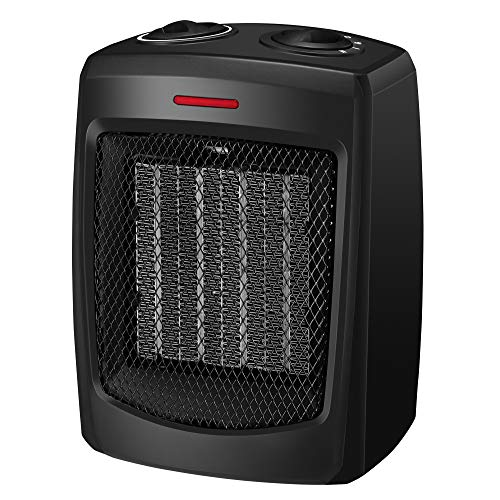 andily Space Heater Electric Heater for Home and Office Ceramic Small Heater with Thermostat, 750W/1500W (Best Portable Electric Heater For Large Room)