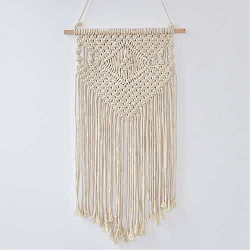 Samber Hand-knit Macrame Wall Hanging Tapestry Woven Craft Hanging Decor Handmade Macrame Tapestry Wall Decor Wedding Background Decoration Living Room Bedroom (Hand Woven Tapestry)