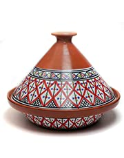 Kamsah Hand Made and Hand Painted Tagine Pot   Moroccan Ceramic Pots for Cooking and Stew Casserole Slow Cooker (Large, Supreme Bohemian Red)