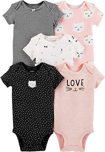 Cat Infant Bodysuit - Carters Baby Girls 5Pack Original Short Sleeve Bodysuits (Cat) , 6 Months , Pink