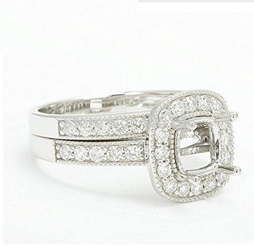 (GOWE 6x6mm Cuahion 14K White Gold Natural Pave Set Diamond Semi Mount Setting Ring & Wedding band)