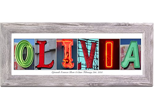 Creative Letter Art - Personalized Framed Name Sign with Neon Alphabet Photographs including Driftwood Self Standing Frame
