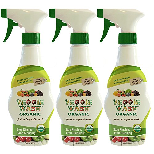 Organic Fruit Spray - Veggie Wash Organic Fruit and Vegetable Wash, Pack of 3, 16-Fl oz Each
