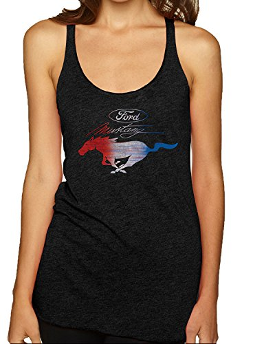 Ford Mustang USA Flag | Womens Planes/Trains/Automobiles Premium Tri-Blend Racerback Tank Top, Vintage Black, Medium