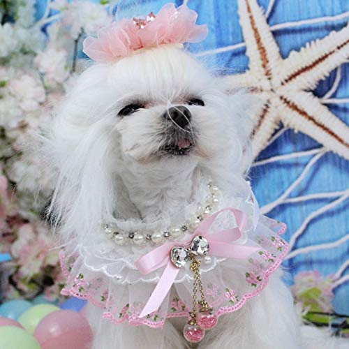 OnnPnnQ Fashion Bow Ties Dog Necklace Pet Shop Dog Lace Pearl Bibs Pet Handmade Collars Bow Tie Pet Jewelry Accessories