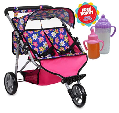 (Exquisite Buggy, Twin Doll Jogger Stroller Diaper Bag a Carriage Bag 2 Free Magic Bottles Included (Fits Bitty Twins Dolls ) (Flower))