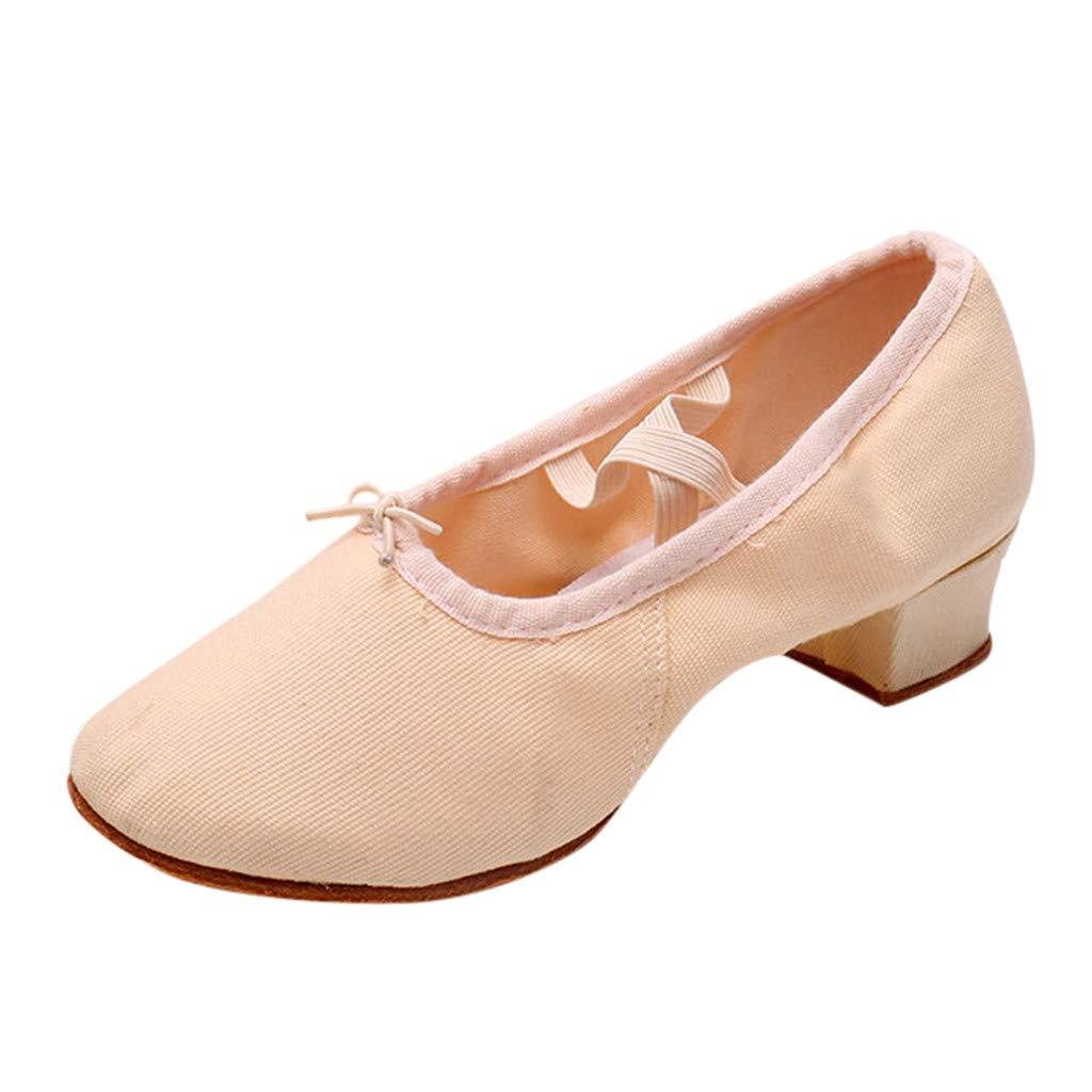 KESEELY Women Dancing Rumba Waltz Prom Ballroom Latin Ballet Dance Shoes Soft Comfortable Outdoor Elastic Band Singles Shoes Beige