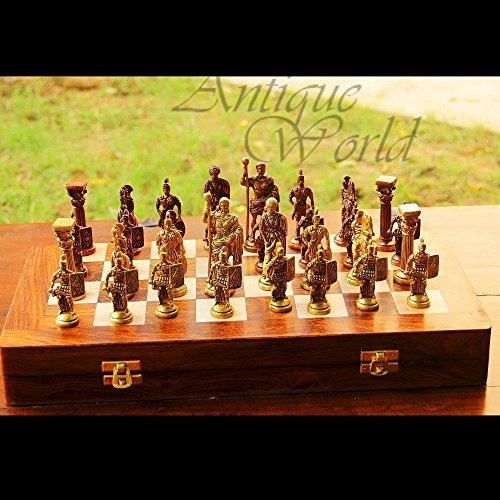 Antiques World Unravel Emperor The Roman Figurines Chess Set Antique Heavy Brass Art Decor Collectible Chess Set of 32 Figures/Chess Game Figurines AWUSACB 04