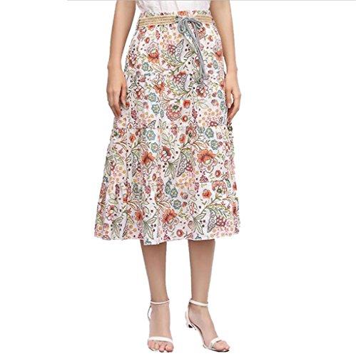 - Renesmei Womens Boho Floral High Waist A-Line Flared Midi Skirt With Linen Belt (A)