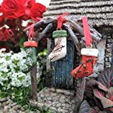 Miniature Fairy Gardens Christmas Stockings set of 3 For Sale