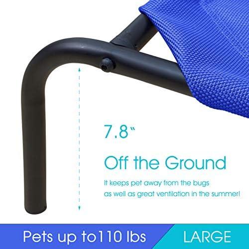 PHYEX Cama elevada portátil con marco de acero resistente para mascotas, cama elevada de refrigeración, 50.5 pulgadas de largo x 30.5 pulgadas de ancho x 7.8 pulgadas de alto (L, azul) 4