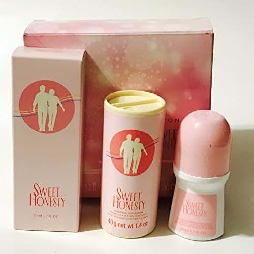 Avon SWEET HONESTY 3 pcs gift set in box 1.7 fl oz cologne spray, 1.4 oz body powder talc and rollon anti perspirant 1.7 fl oz deodorant (Box has imperfections at opening/seal)