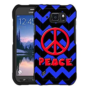 Samsung Galaxy S6 Active Case, Snap On Cover by Trek Peace on Chevron Blue Black Case