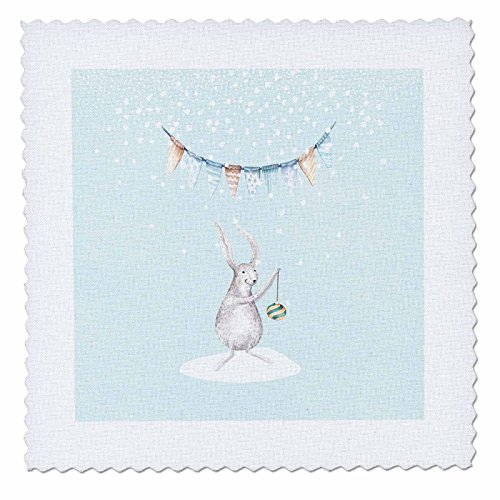 3dRose Uta Naumann Watercolor Illustration Animal - Cute Animal Illustration of a Deer in Winter Snow- For Children - 16x16 inch quilt square (qs_269055_6) by 3dRose
