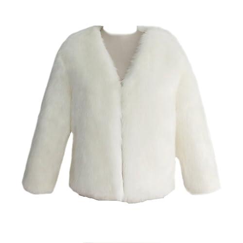 YuanDian Mujer Otoño Invierno Casual Color Sólido Corto Abrigos De Pelo Cuello V Suave Cálido Imitac...