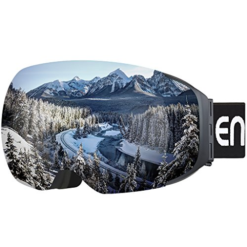 Enkeeo Ski Goggles Detachable Dual Layer Anti-Fog Lens 100% UV400 Protection, Bendable Frame, Anti-slip Strap with Comfort, Wind Resistant 3 Layers Foam for Adult Snowboarding Skating, Magnet - Goggles Sale Smith