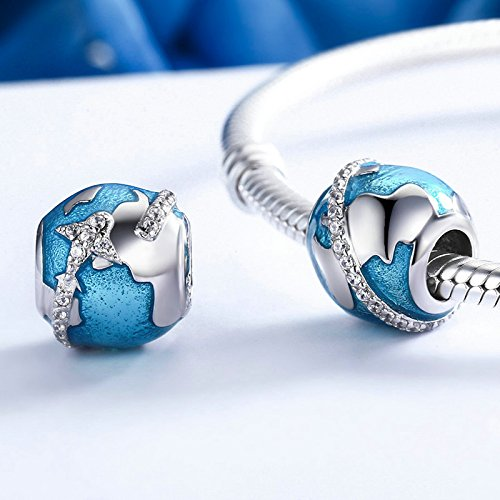 The Kiss Around the World Places of Interest Holiday Vacation Travel Enamel 925 Sterling Silver Bead Fits European Charm Bracelet (Blue Enamel) by The Kiss (Image #4)