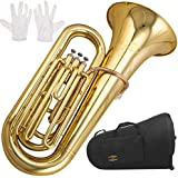 Glory Brass GTU3 3 key B Flat Tuba, Gold finish, with Mouthpiece,Case and Glove,Click to check more choice