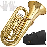Glory Brass GTU3 3 key B Flat Tuba, Gold