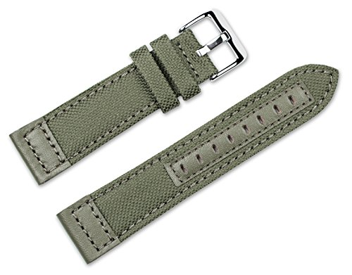 22mm Replacement Watch Band - Nylon Canvas with Leather Trim - Olive Watch Strap ()