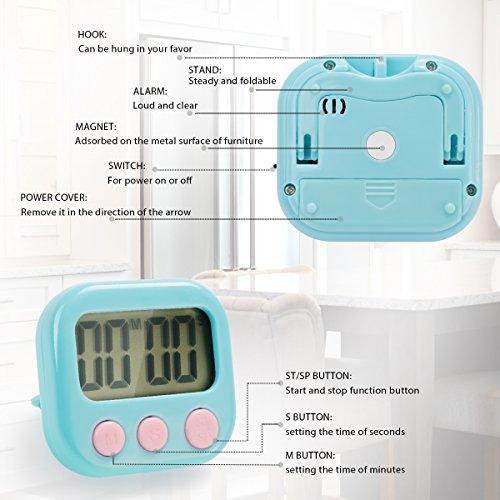 Temporizador de cocina, Ecbrt pequeño temporizador digital de cocción, alarma fuerte, respaldo magnético, interruptor de encendido/apagado, cuenta atrás de ...