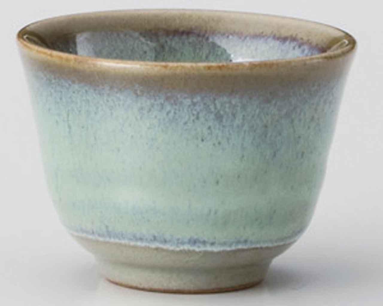 Hiwa Green 8.2cm Japanese Tea Cup Green Ceramic Made in Japan watou.asia