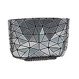 Sun Kea Geometric Bag Women Cross-Body Bag PU Shoulder Bag Chain Bag Laser Clutch Purse Bags (silver)