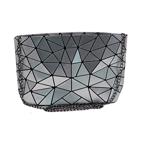 Sun Kea Geometric Bag Women Cross-Body Bag PU Shoulder Bag Chain Bag Laser Clutch Purse Bags (silver) by Sun Kea